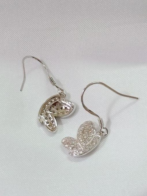 YUEFAN 925 Sterling Silver Cubic Zirconia White Wing Dainty Hook Earring 3