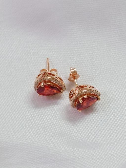 Rose 925 Sterling Silver Cubic Zirconia Red Water Drop Dainty Huggie Earring