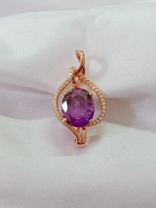 YUEFAN Heart 925 Sterling Silver Cubic Zirconia Purple Dainty Pendant 0