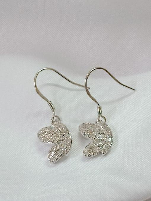 YUEFAN 925 Sterling Silver Cubic Zirconia White Wing Dainty Hook Earring 2
