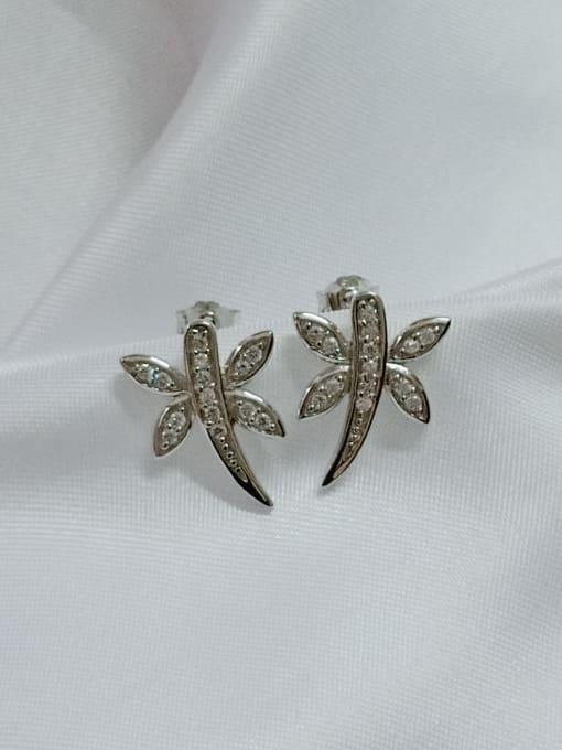 YUEFAN 925 Sterling Silver Cubic Zirconia White Dragonfly Minimalist Huggie Earring 3