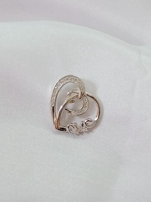 White Heart 925 Sterling Silver Cubic Zirconia White Minimalist Pendant