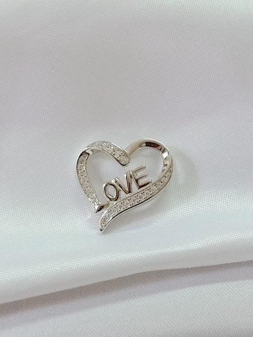 YUEFAN Heart 925 Sterling Silver Cubic Zirconia White Minimalist Pendant 1