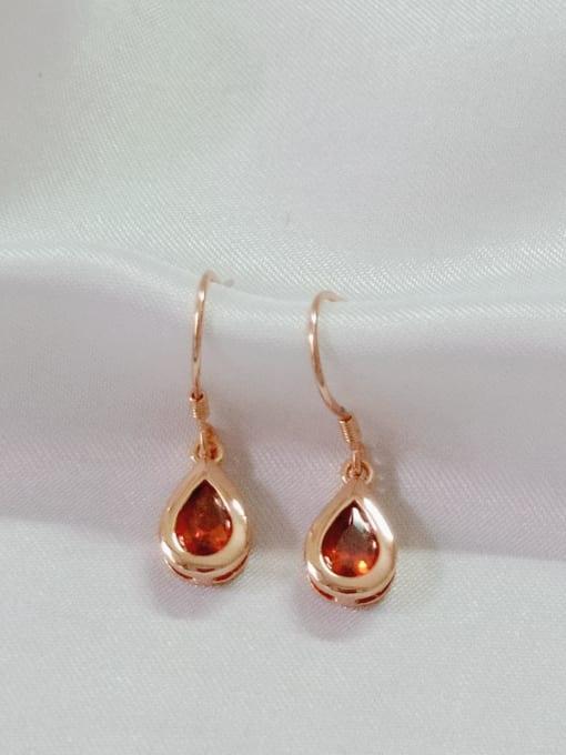 Rose 925 Sterling Silver Cubic Zirconia Red Water Drop Minimalist Hook Earring