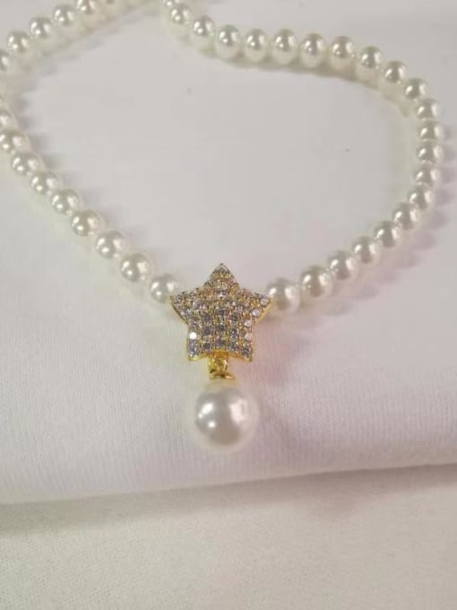 Yellow 925 Sterling Silver Cubic Zirconia White Star Dainty Beaded Necklace