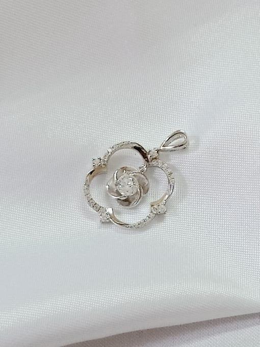 YUEFAN Flower 925 Sterling Silver Cubic Zirconia White Minimalist Pendant 2