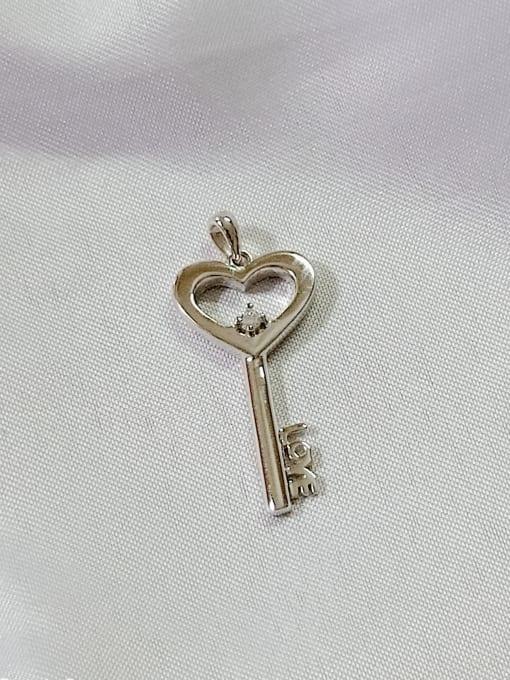 YUEFAN Key 925 Sterling Silver Cubic Zirconia White Minimalist Pendant 2