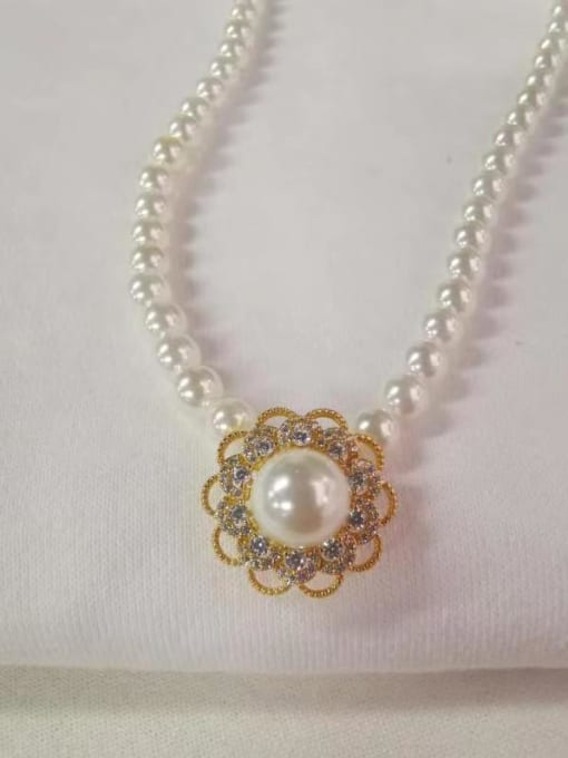 YUEFAN 925 Sterling Silver Cubic Zirconia White Flower Dainty Beaded Necklace 1