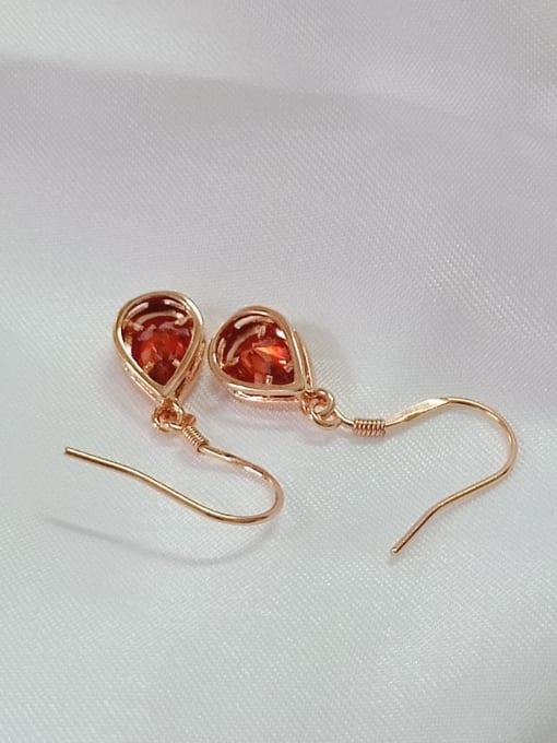 YUEFAN 925 Sterling Silver Cubic Zirconia Red Water Drop Minimalist Hook Earring 3