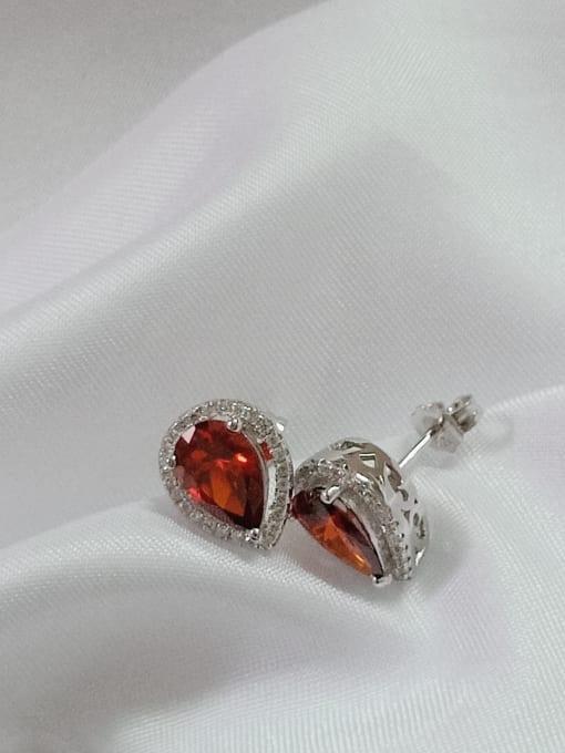 YUEFAN 925 Sterling Silver Cubic Zirconia Red Water Drop Dainty Huggie Earring
