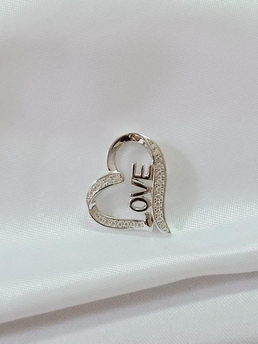 YUEFAN Heart 925 Sterling Silver Cubic Zirconia White Minimalist Pendant 0