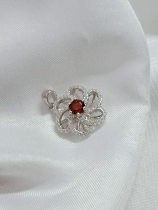 YUEFAN Flower 925 Sterling Silver Cubic Zirconia Red Dainty Pendant 1
