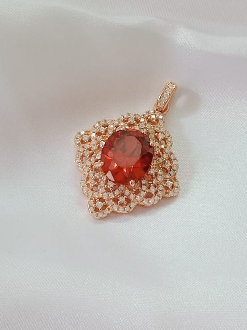 rose gold and red Oval 925 Sterling Silver Cubic Zirconia Red Dainty Pendant