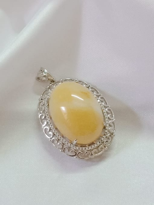 White Oval 925 Sterling Silver Topaz Yellow Dainty Pendant