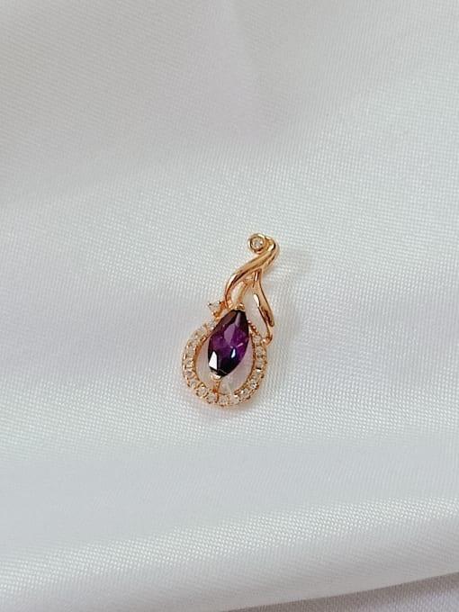 YUEFAN Flower 925 Sterling Silver Cubic Zirconia Purple Minimalist Pendant 3