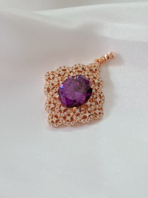 Rose Gold And purple Oval 925 Sterling Silver Cubic Zirconia Red Dainty Pendant