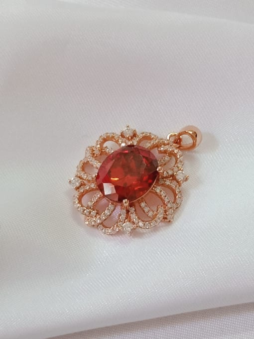 Rose Flower 925 Sterling Silver Cubic Zirconia Red Dainty Pendant