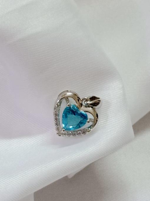 YUEFAN Heart Copper Cubic Zirconia Blue Dainty Pendant 2