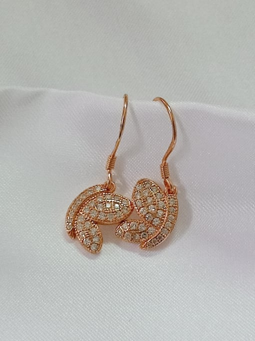 Rose 925 Sterling Silver Cubic Zirconia White Wing Dainty Hook Earring