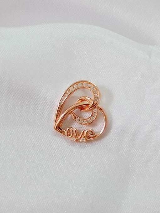 Rose Heart 925 Sterling Silver Cubic Zirconia White Minimalist Pendant