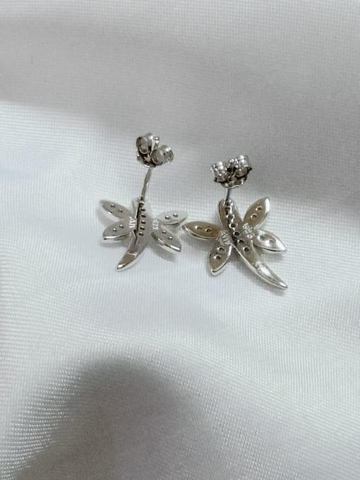 YUEFAN 925 Sterling Silver Cubic Zirconia White Dragonfly Minimalist Huggie Earring 2