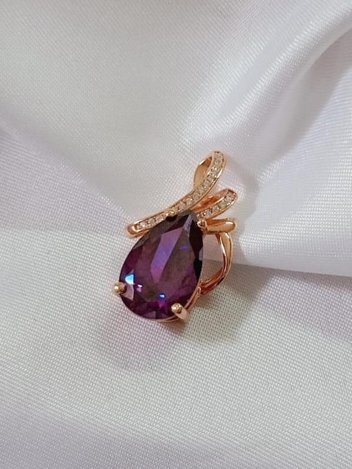 YUEFAN Water Drop 925 Sterling Silver Cubic Zirconia Purple Dainty Pendant