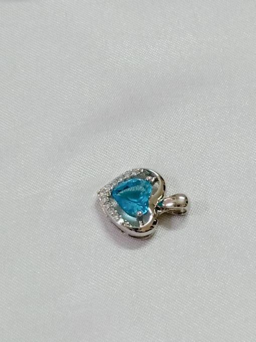 YUEFAN Heart Copper Cubic Zirconia Blue Dainty Pendant 3