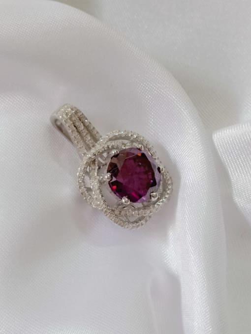 Rhodium and purple Flower 925 Sterling Silver Cubic Zirconia Purple Dainty Pendant