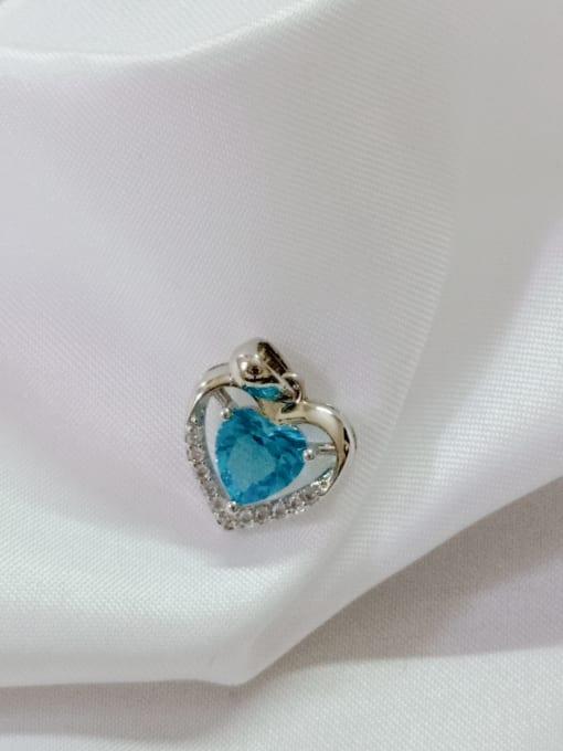 White Heart Copper Cubic Zirconia Blue Dainty Pendant