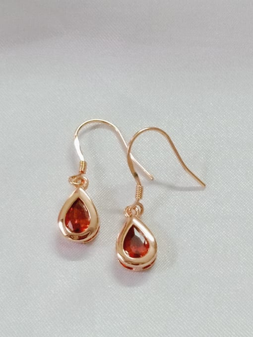 YUEFAN 925 Sterling Silver Cubic Zirconia Red Water Drop Minimalist Hook Earring 0