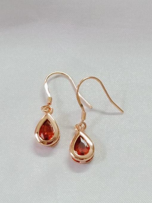 YUEFAN 925 Sterling Silver Cubic Zirconia Red Water Drop Minimalist Hook Earring