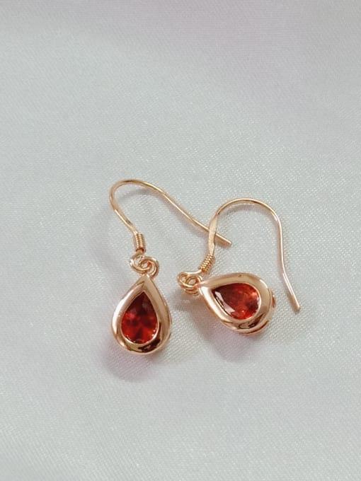 YUEFAN 925 Sterling Silver Cubic Zirconia Red Water Drop Minimalist Hook Earring 1