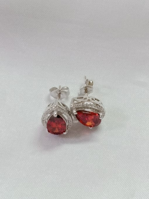 White 925 Sterling Silver Cubic Zirconia Red Water Drop Dainty Huggie Earring