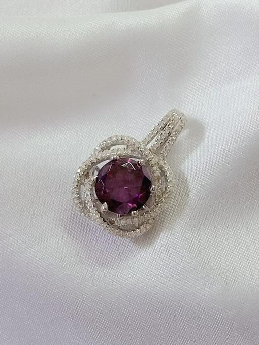 YUEFAN Flower 925 Sterling Silver Cubic Zirconia Purple Dainty Pendant 0
