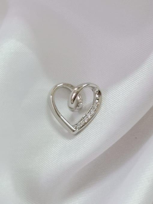 White Heart Copper Cubic Zirconia White Dainty Pendant