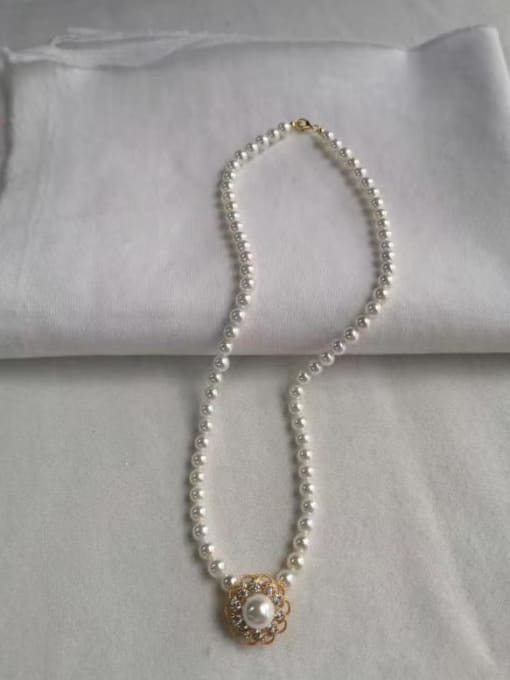 YUEFAN 925 Sterling Silver Cubic Zirconia White Flower Dainty Beaded Necklace 2