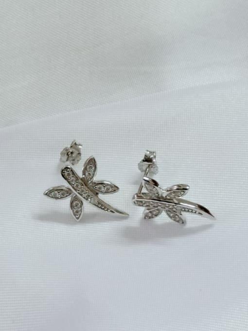 YUEFAN 925 Sterling Silver Cubic Zirconia White Dragonfly Minimalist Huggie Earring 1