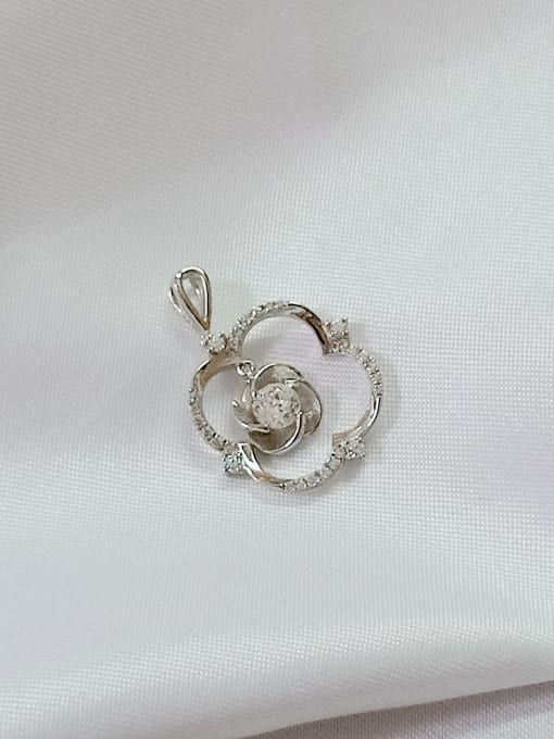 YUEFAN Flower 925 Sterling Silver Cubic Zirconia White Minimalist Pendant 0