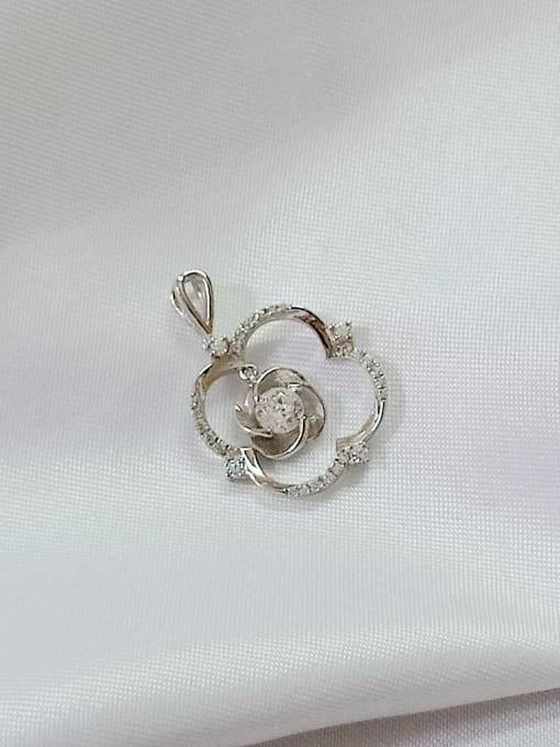 YUEFAN Flower 925 Sterling Silver Cubic Zirconia White Minimalist Pendant