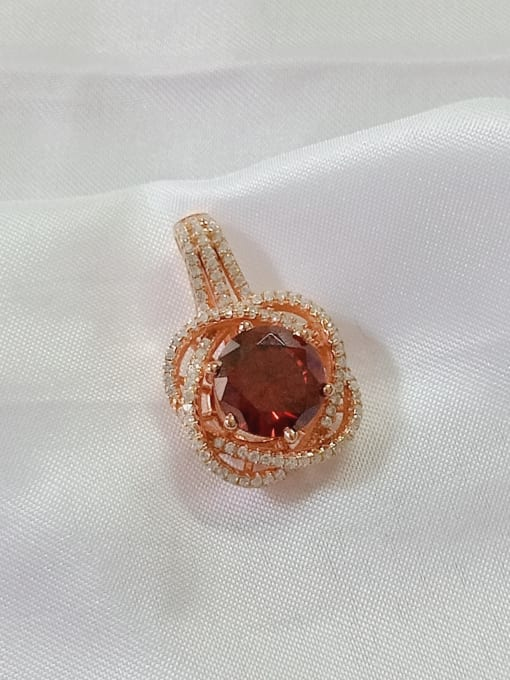 Rose gold and red Flower 925 Sterling Silver Cubic Zirconia Purple Dainty Pendant