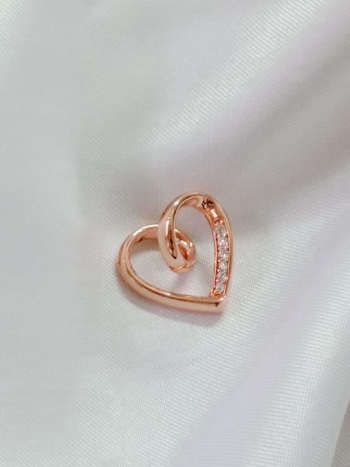 Rose Heart Copper Cubic Zirconia White Dainty Pendant