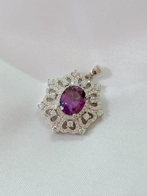 Rhodium and purple Geometric 925 Sterling Silver Cubic Zirconia Purple Dainty Pendant