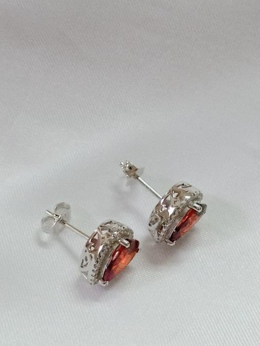 YUEFAN 925 Sterling Silver Cubic Zirconia Red Water Drop Dainty Huggie Earring 3