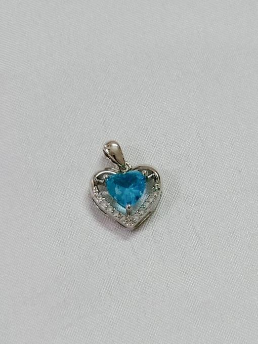 YUEFAN Heart Copper Cubic Zirconia Blue Dainty Pendant 1
