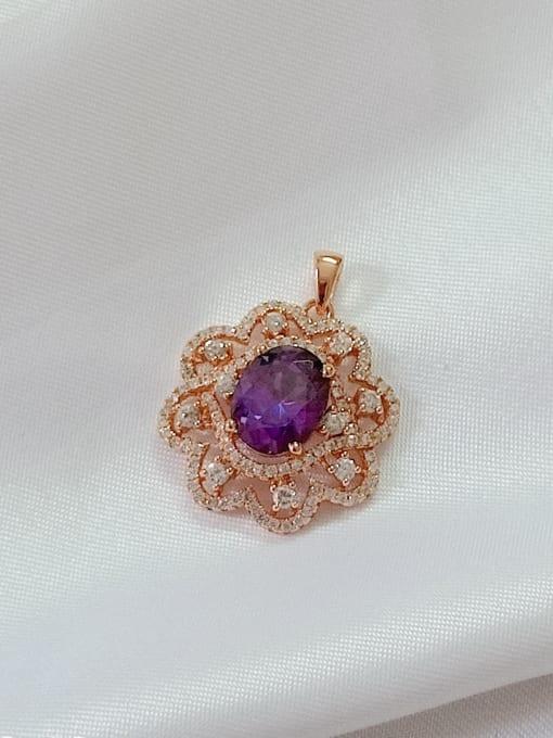 YUEFAN Flower 925 Sterling Silver Cubic Zirconia Purple Dainty Pendant 1