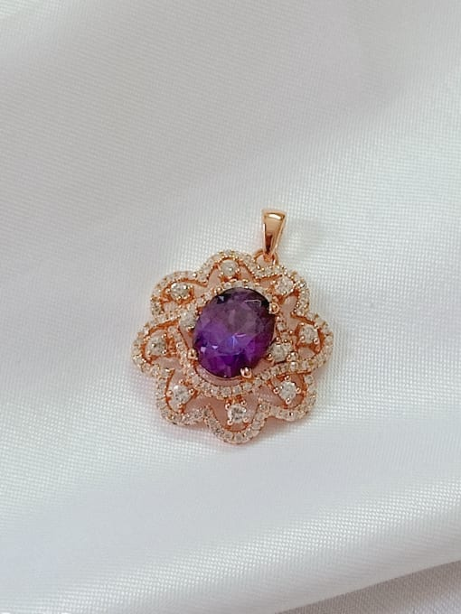 rose gold and purple Flower 925 Sterling Silver Cubic Zirconia Purple Dainty Pendant