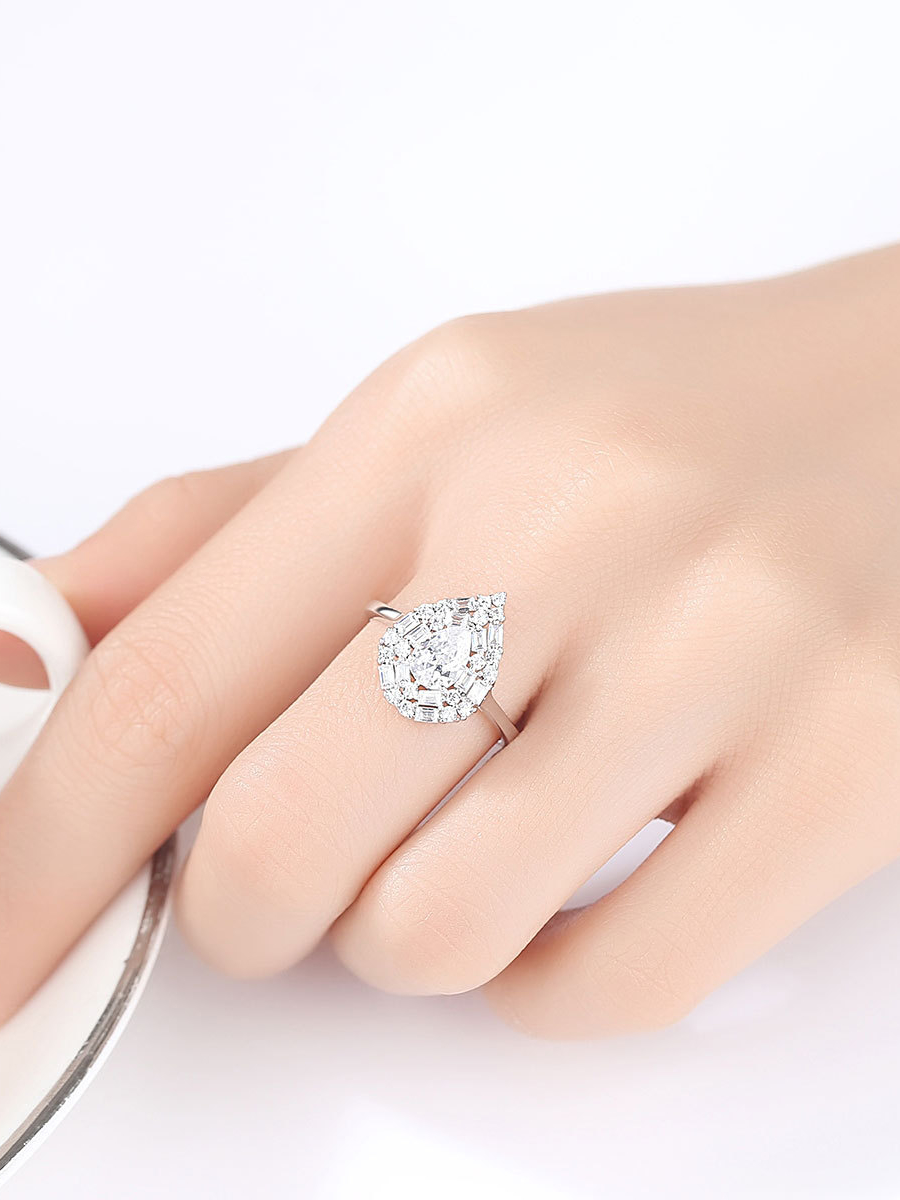 Textured Silver water drop Ring