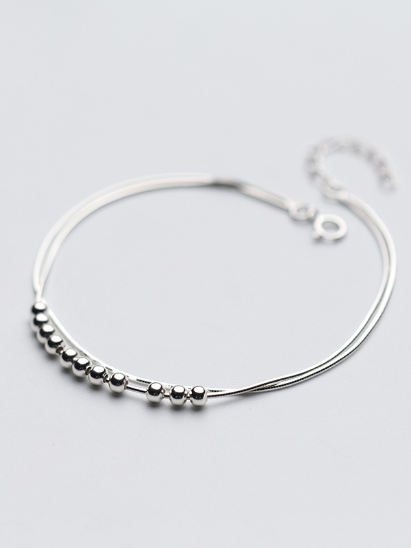 925 Sterling Silver With Platinum Plated Simplistic Ball Anklets 1000032764